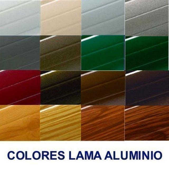 gama de colores de lamas de aluminio