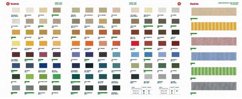 gama de colores de lonas de toldo Sauledo