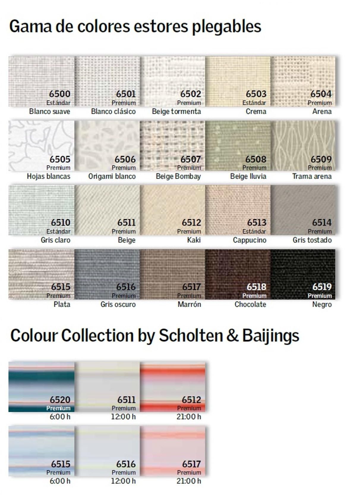 gama colores estores plegables velux
