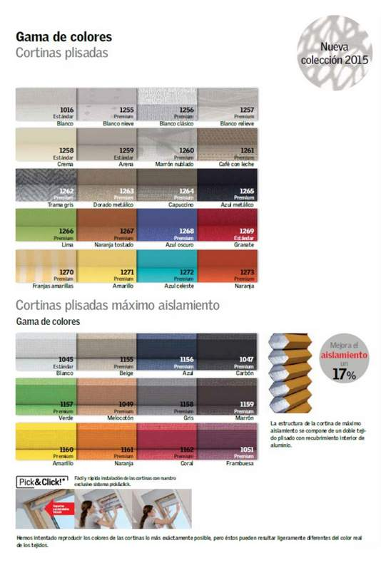 colores de cortinas plisadas Velux